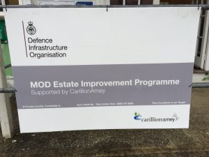 A picture of a sign for a Ministry of Defence building, for whom London Electricians recently carried out an electrical installation and electrical testing of the building