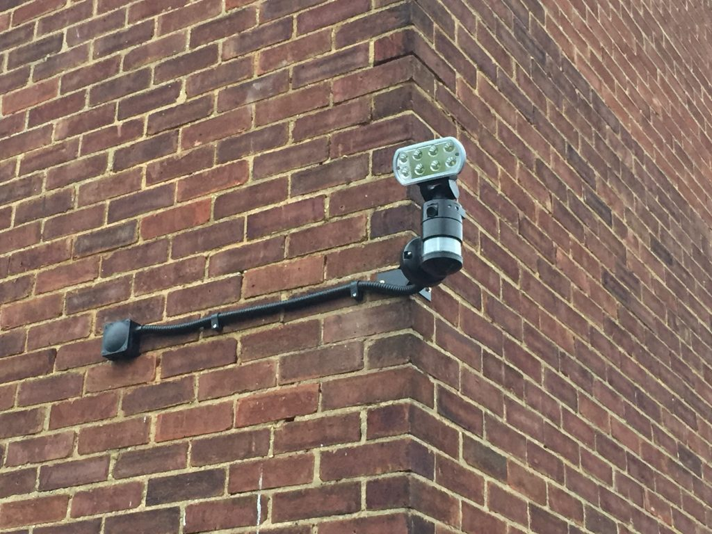 A picture showing an electrical installation of a CCTV camera in the London