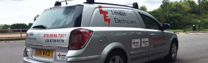 An image of a car branded with London Electricians