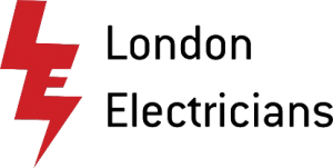 A picture of the London Electricians logo, accompanied by the company name in a simple, black font
