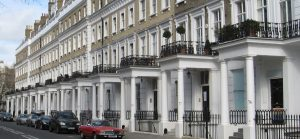 A picture of terraced houses in Kensington, some of the customers who use the electrical contractors here at London Electricians