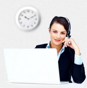 An image of a woman answering a call using a headset