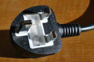 A picture showing a plug, which can be an electrical safety hazard if damaged