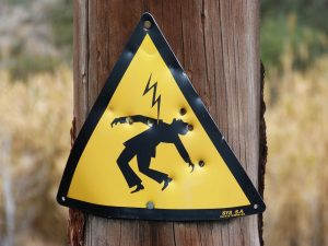 Sign warning against electric shock and electrical accidents