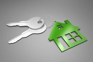 An image of two silver keys attached to a green house keyring