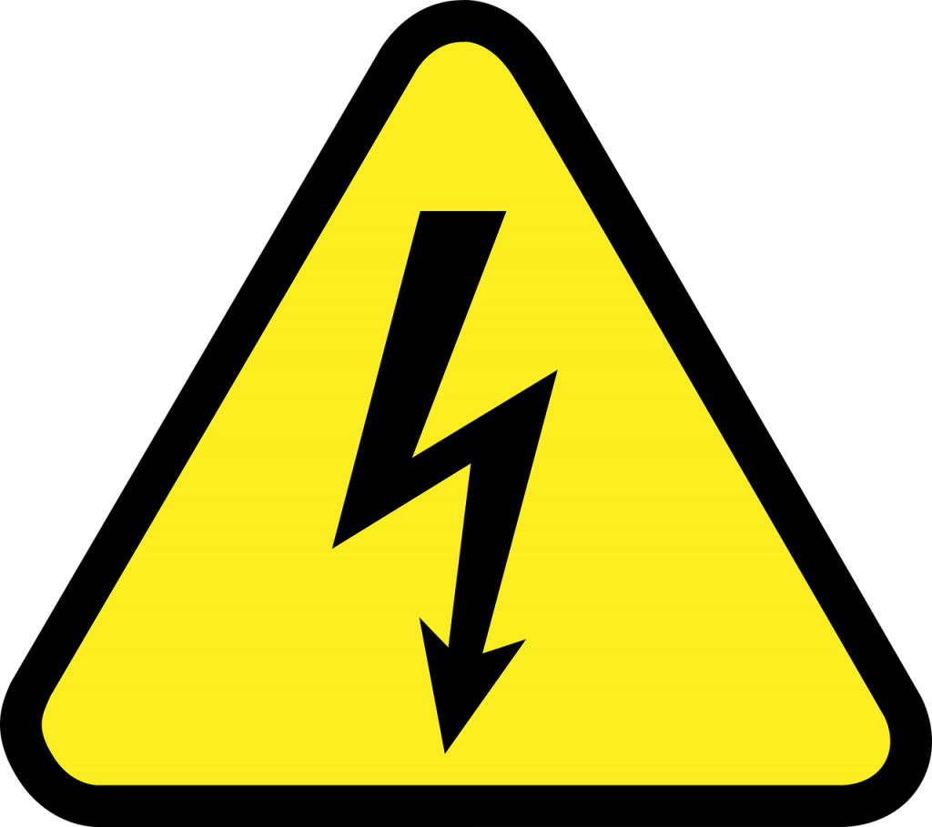 A warning sign of electrical safety